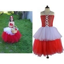 Child Little Red Riding Hood Costume 90cm 140cm Girls Tutu Dress Tulle Skirt Photography Girl Clothing