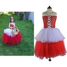 Criança Little Red Riding Hood Traje 90 cm-140 cm Vestido Tutu Meninas Saia de Tule Menina Fotografia Roupas do Dia Das Bruxas traje Para O Miúdo