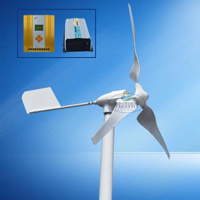Générateur de vent à aimant permanent horizontal 600 w 12 v/24 v/48 v 50 hz 3 lames avec contrôleur hybride mppt