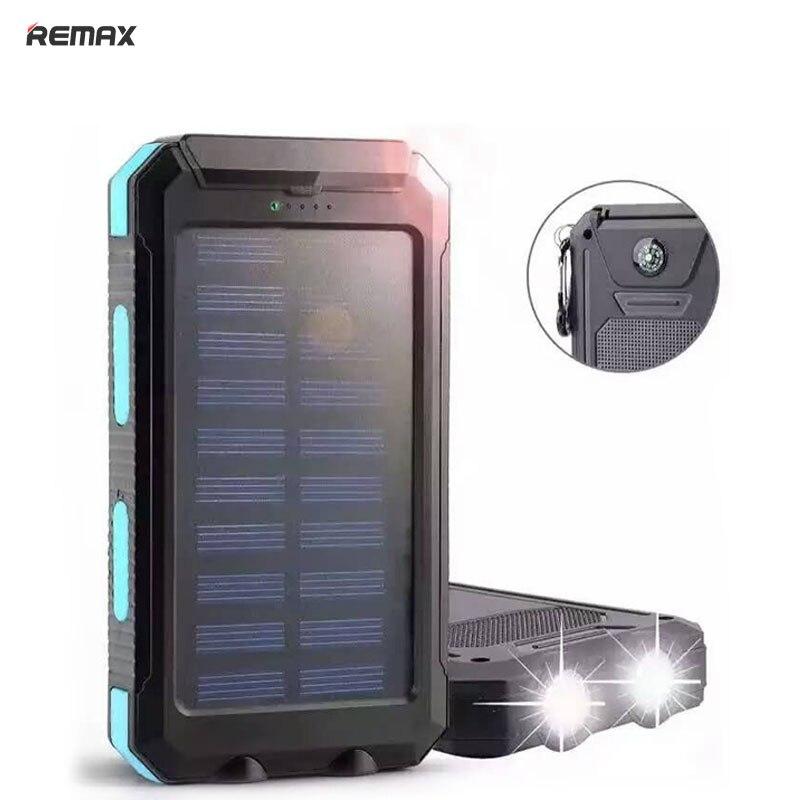imágenes para 12000 mAh Powerbank Banco de la Energía Solar 10000 mah impermeable Brújula para el teléfono móvil Universal de Carga de la batería Con Luz LED