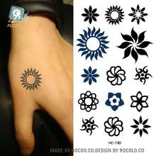 HC-190/Latest 2015 Men/Women Small Tattoo Stickers Black Tribal Sun Tattoo Design Water Transfer Temporary Hands Tattoo Stickers gold foil metal western tribal elements tattoo stickers