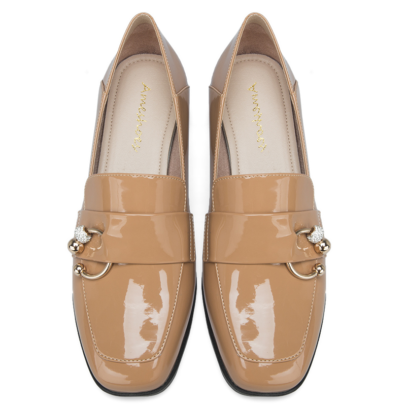 2019 AME Black Apricot Women Loafers Flat Shoes Square Toe Low Heel Lady Shoes Woman Casual Shoes 11811ABX2161 in Women 39 s Flats from Shoes
