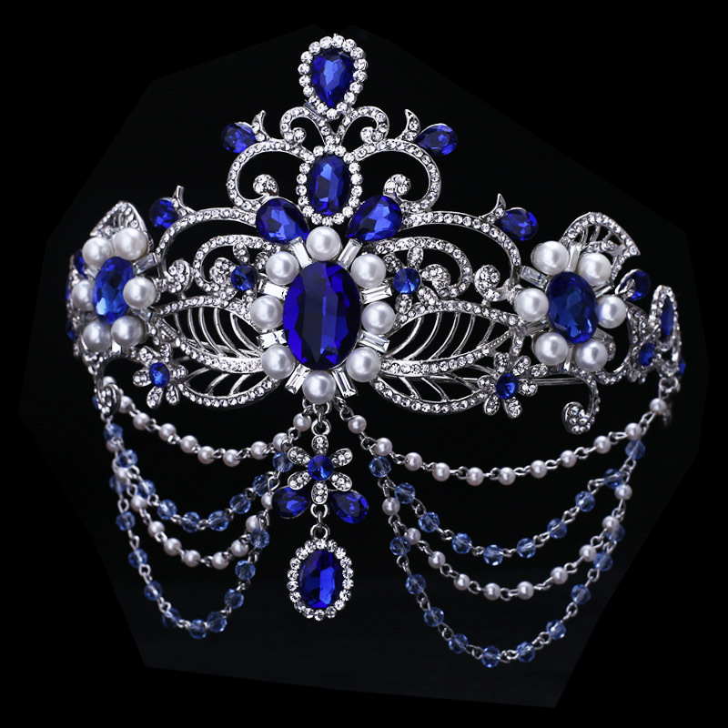 Blue Crystal Bride Hair Accessory Wedding Bridal Tiaras For Women Rhinestone Pageant Crown Head Jewelry Ornament In From