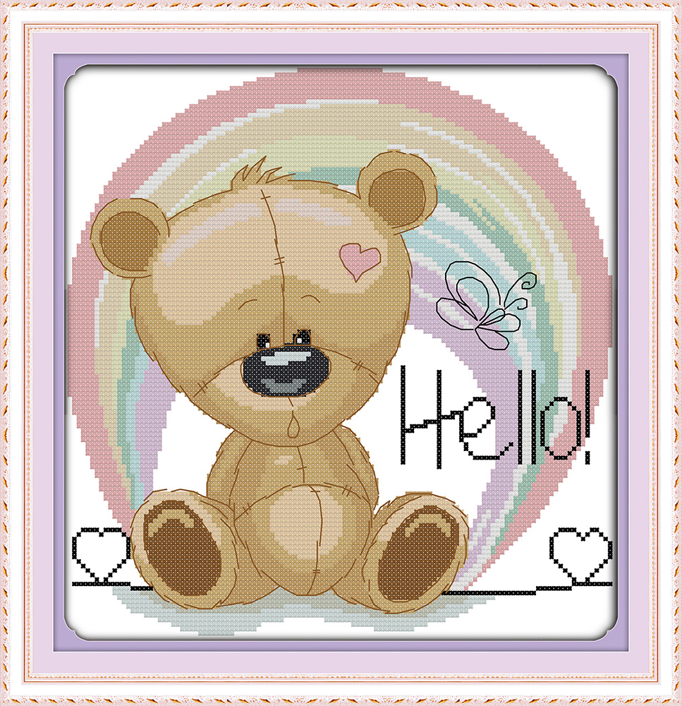 Joy Sunday Happy Baby Bear Counted Printed On Fabric DIY Cross Stitch Patterns Embroidery Kit Home Decor Cross-stitch