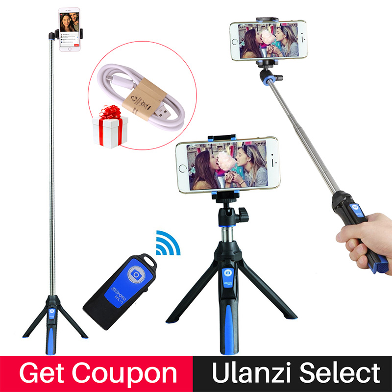 Benro Mefoto Selfie Stick con espejo trasero y Bluetooth Remote Shutter Monopod Luz de relleno para iPhone 8 Plus Selfie Stick trípode