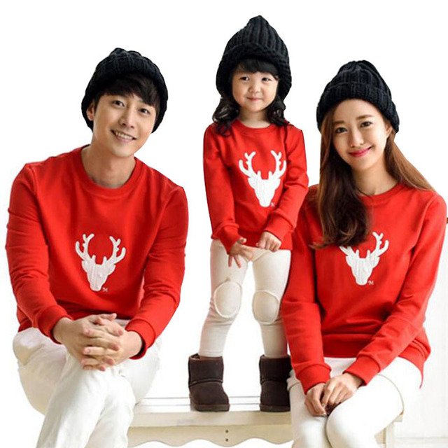 2018 spring autumn family matching outfits father son christmas shirts mother daughter dad boy casual cotton