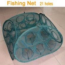 2017 NEW Folding 21 Hole Fishing Net Minnow Shrimp Cage Nylon Foldable Crab Fish Trap Cast Net Cast Fishing Network