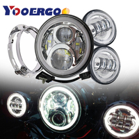 Harley Touring DOT 7 LED Projector Daymaker Headlights 4.5 Motorcycle Passing Lights With 7Inch Headlamp Adapter Mount Ring