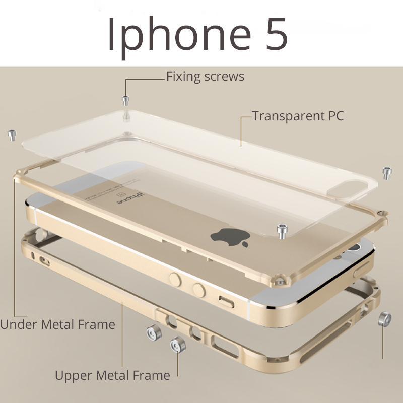 imágenes para Parachoques Para el iphone 6 s Caso de la Cubierta del teléfono del Metal para el iphone 6 Marco De Aluminio A Prueba de Golpes de parachoques con Tapa Trasera Transparente
