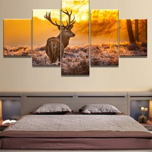 5 Piece Canvas Art Sunset Deer Cuadros Decoracion Paintings on Wall for Home Decorations Decor Poster