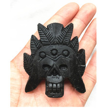 African hand-carved obsidian crystal skull with feng shui healing beautiful holiday gift