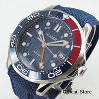 최고 브랜드 bliger 멋진 스타일 41mm 자동 남자 시계 gmt 손으로 슈퍼 빛나는 다이얼 날짜 창