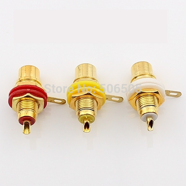 Free shipping High quality gold plated 3 colors RCA socket 6pcs/lot gold plated socket pixhawk px4 247