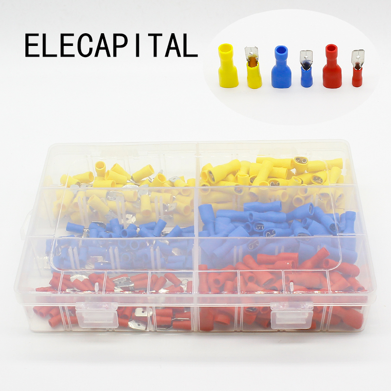 300pcs Red Blue Yellow Spade Crimp Terminals Fully Insulated Electrical Connectors Audio Wiring pro skit pm 912 insulated combination pliers red yellow 175mm