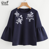 Dotfashion Flower Embroidered Trumpet Sleeve Top Navy Round Neck Bell Sleeve Casual Shirt Autumn Long Sleeve