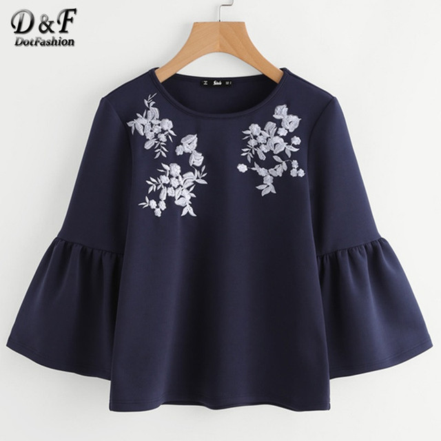 Dotfashion Flower Embroidered Trumpet Sleeve Top Navy Round Neck Bell Sleeve Casual Shirt Autumn Long Sleeve Women Cute Blouse