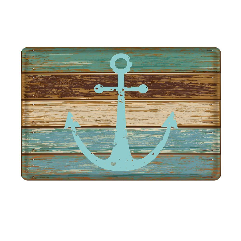 Charmhome Vintage Retro Nautical Anchor Flannel Microfiber Accent Rug Turquoise And Brown Bathroom Kitchen Floor