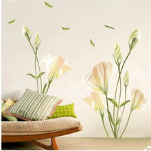 The sixth generation of flower wall stickers bedroom sitting room background decorative Lily