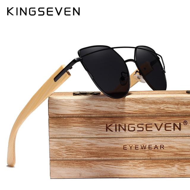 Original KINGSEVEN ไม้ไผ่ยี่ห้อ Cat Eye แว่นตากันแดด Polarized กรอบโลหะไม้แว่นตาผู้หญิงหรูหราแว่นตากันแดดไม้กรณี