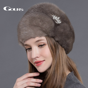Image 5 - Gors chapéus de pele de vison real inteiro das mulheres chapéus de pele com coroa de luxo moda russa inverno grosso quente alta qualidade boné nova chegada