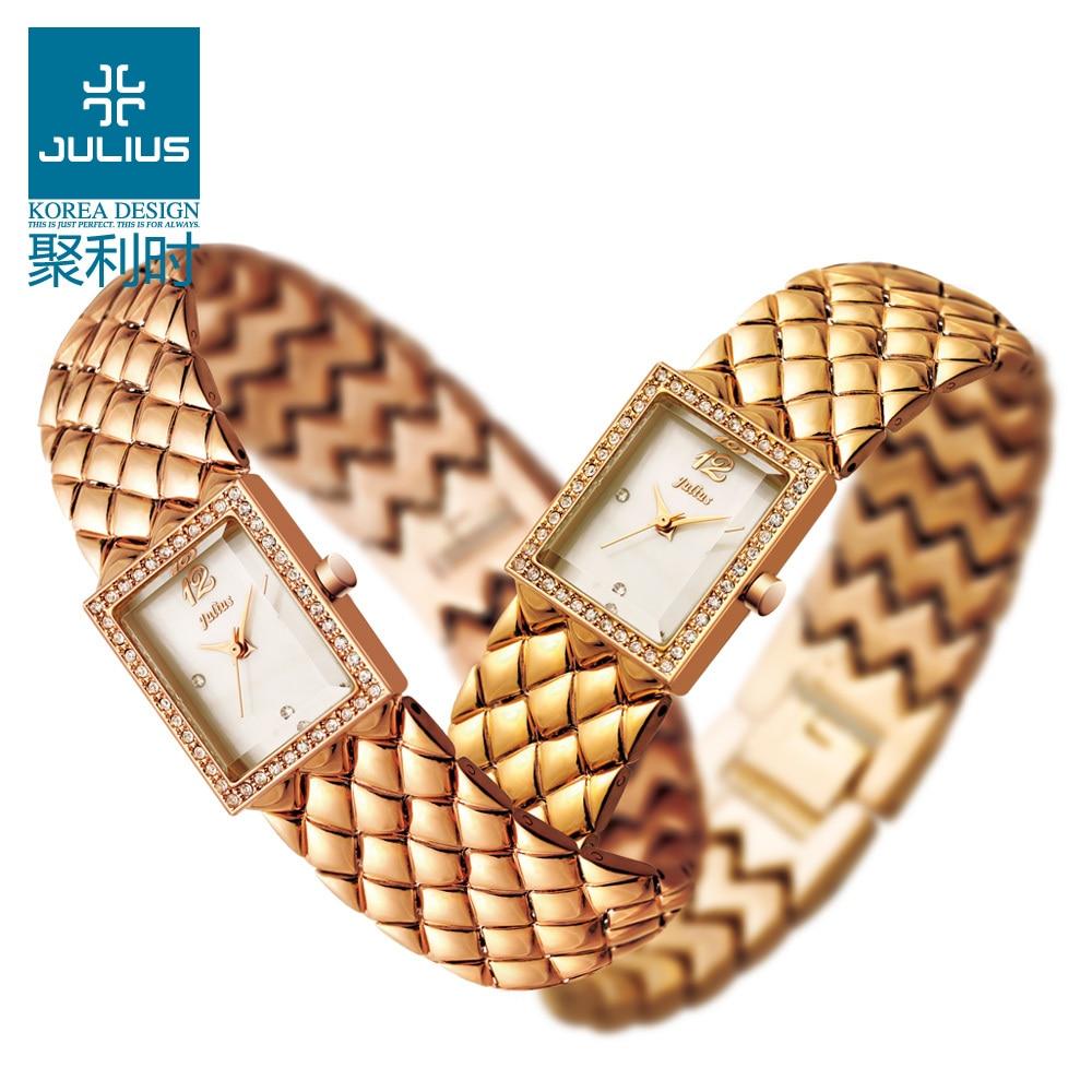 2015 Julius Lady Woman Wrist Watch Quartz Hours Best Fashion Dress Korea Bracelet Office Stainless Steel