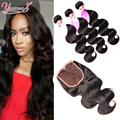 Malaysian Body Wave 3 Bundles With Closure Cheap Wavy Human Hair Weave Malaysian Virgin Hair Body Wave Lace Closure With Bundles