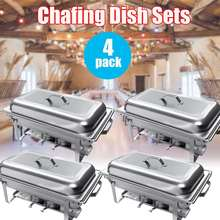 4Pcs 9L Foldable Chafing Dish Buffet Stoves Caterer Food Warmer Tray Dinner Serving Stainless Steel Simple Removal Buffet Stove