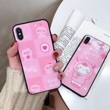 Japan Korea Cute Cartoon Pink sakura Pig Tempered Glass Case For iPhone XS XR MAX X 6 6S 7 8 Plus
