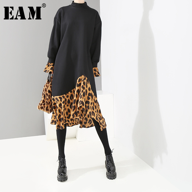 [EAM] 2019 New Spring  Winter High Collar Long Sleeve Leopard Printed Loose Ruffles Hem Big Size Dress Women Fashion Tide JK835