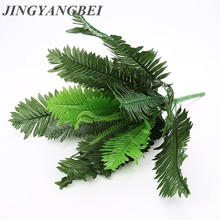 24Branches Leaves Artificial Fern Bouquet Plastic Silk Green Plants Fake Persian Leaves Foliage Sago Cyca For Home Wedding Decor