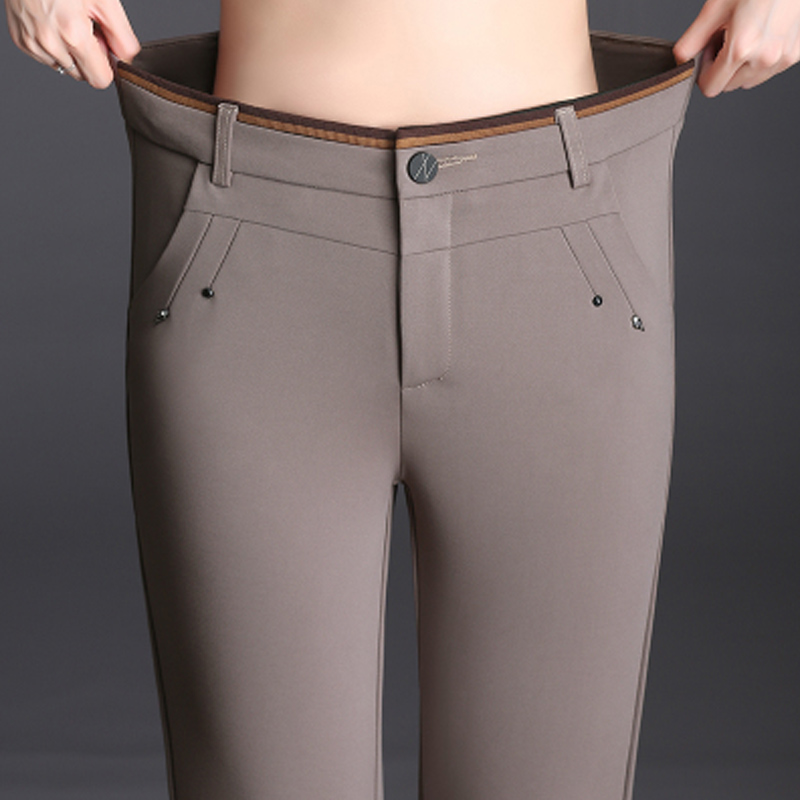New 2019 Autumn Winter England Style Ladies Pencil Pants High Waist Women Capris Casual Button Fly Trousers Plus Size S- 6XL