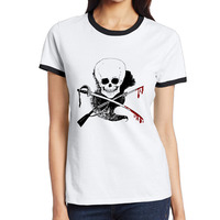 skull-guns-word-blood Personalized Cotton Printing O-Neck Short Black Tshirt Ladies Sexy Streetwear Workout Tshirt