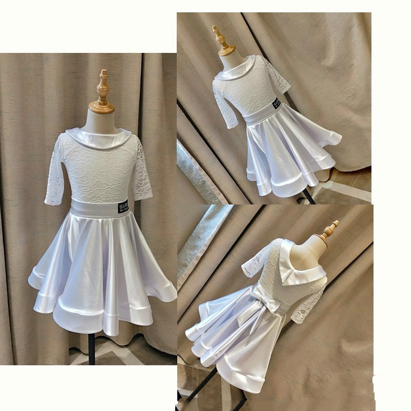Latin Dance Dress For Girls Elegant White Lace Ballroom Dancing Dresses For Kids Stage Performance Costumes Girl Dancewear