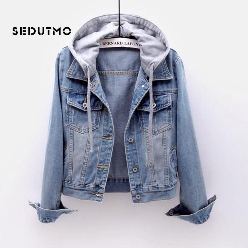 SEDUTMO Plus Size 5XL Denim   Jacket   Women Hoodie Boyfriend Jean Coat Streetwear Vintage Autumn Harajuku   Basic   Outerwear ED463