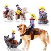 Одежда для домашних собак, ковбой, наездник, стильные вечерние костюмы на Хэллоуин, праздничные украшения для маленьких и средних собак, одежда для кошек