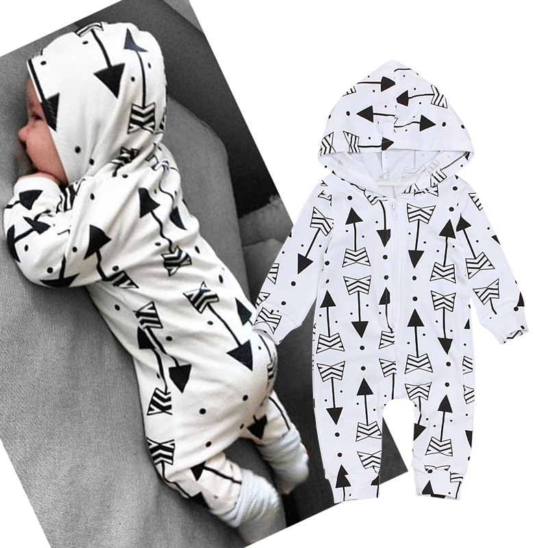 Infant Baby Girl Boys Kids Clothing Hooded Long Sleeveed   Romper   Arrow Cute Zipper Jumpsuit Outfits Baby Girl Boys Clothes