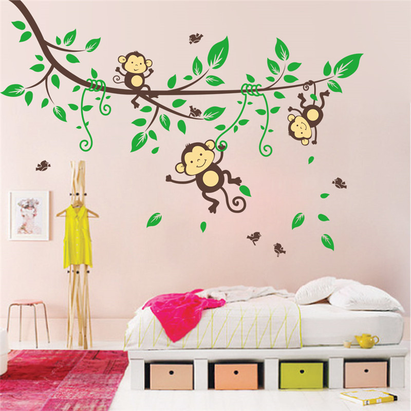 Jungle wild monkeys birds trees wall decals stickers for for Wall decals kids room