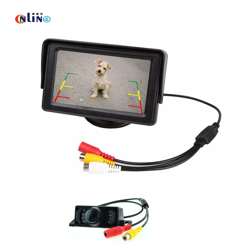 4.3 TFT LCD Color Display 2Ch Video Input Car Monitor Parking Reversing Kit With IR Night Vision Waterproof Rearview Camera