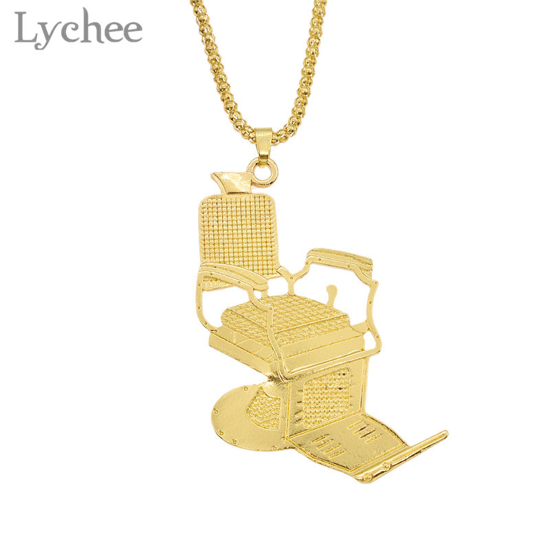 Lychee Alloy Barber Shop Chair Carved Pendant Necklace Round Beads Chain Gold Silver Color Necklace Jewelry for Men ...