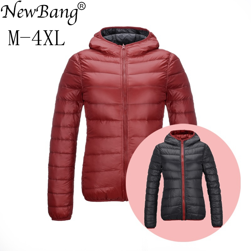 NewBang Duck Coats Women Feather Hooded Ultra Light Down Jacket With Carry Bag Travel Double Side Reversible Jackets Plus Size