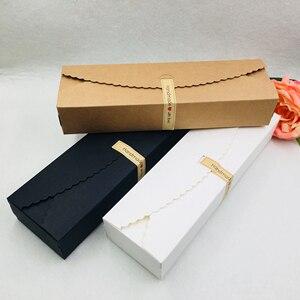 Image 5 - 50 ชิ้น/ล็อตยาวประเภทบรรจุภัณฑ์กระดาษคราฟท์กล่องกระดาษสีดำสีขาวสีน้ำตาลของขวัญกล่องสำหรับบรรจุดอกไม้/เค้ก/ขนม 23x7x4 ซม.+ ฟรีสติกเกอร์