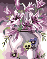 Frameless The Beautiful Pink Lily Flower DIY Painting By Number Hand Printed Oil Painting Wall Art