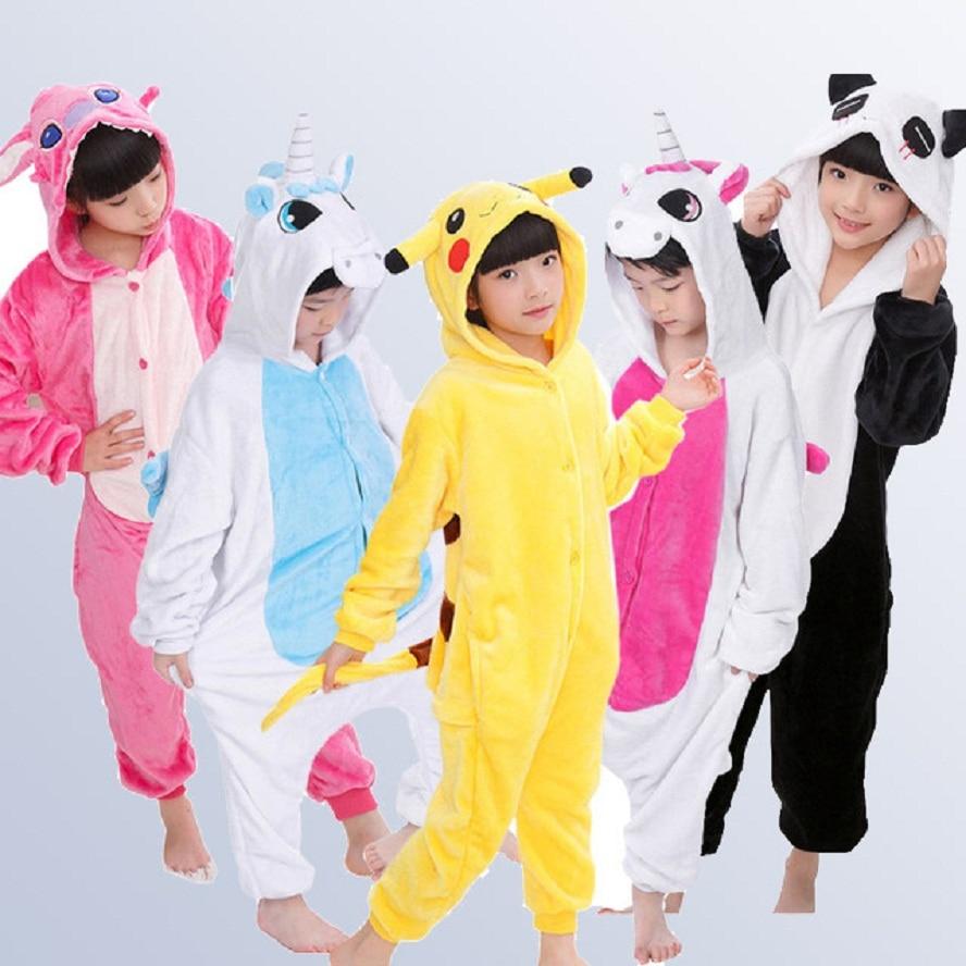 Unicorn Boys Girls Pajamas Autumn Winter Children Pyjamas Flannel Animal  animal Stitch Pajamas Kid Onesie Sleepwear for 4 12 Y 4ad154a6d