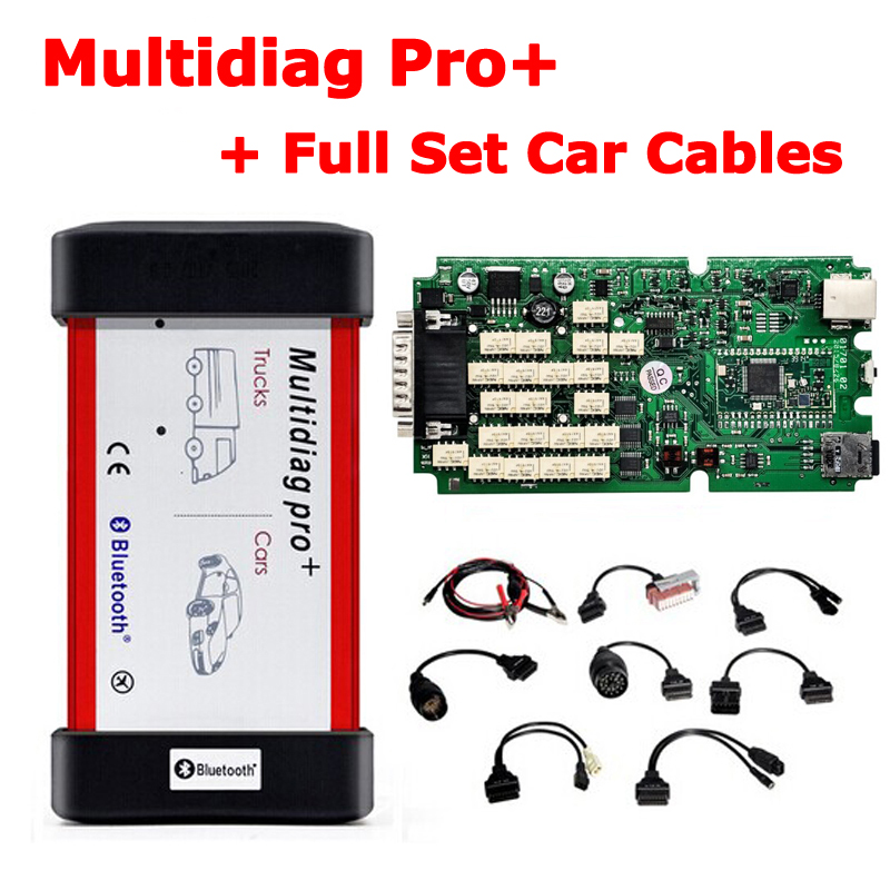 Single Green PCB Board V2015.03 TCS CDP Bluetooth Multidiag Pro+ for Cars/Trucks OBD2+ Full Set Car Cables by DHL Free Shipping купить