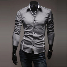 Mens Shirts Men's Dress Shirt Casual Slim Fit Stylish Long-Sleeved Shirts 3 Colors Size M–XXXL