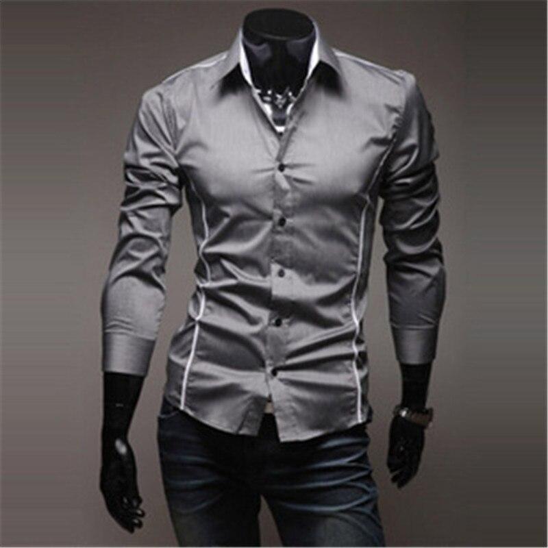 Mens Shirts Men's Dress Shirt Casual Slim Fit Stylish Long-Sleeved Shirts 3 Colors Size M--XXXL