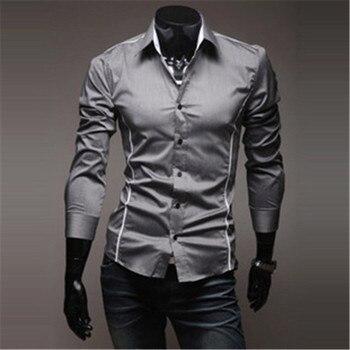 Mens Shirts Men s Dress Shirt Casual Slim Fit Stylish Long Sleeved Shirts 3 Colors Size