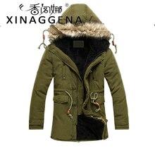 Men Warm Fleece Hooded Jacket Coats Men's Winter Warm Windproof Long Overcoat Cotton Jackets Mens Outerwear Parka