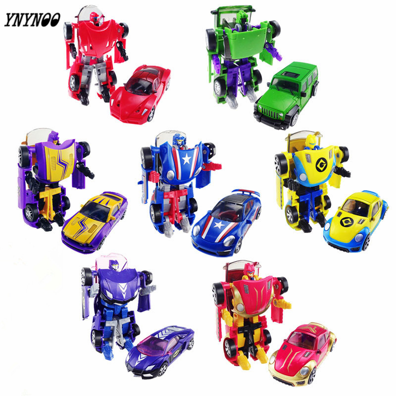 YNYNOO New Arrival Super Cool Cars Transformation Plastic Robots figures Action Figure Toy Children Birthday Gifts Brinquedos 2014 new high quality building blocks minifigures 4 in 1 combiner various models transformation robots cars action figure