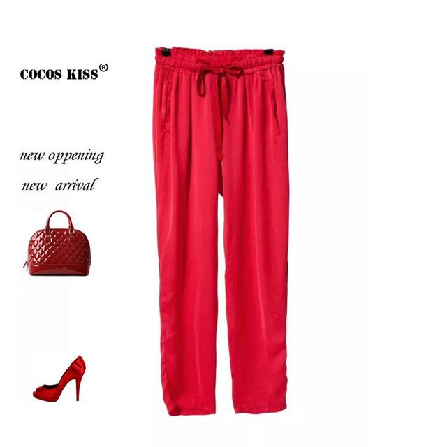 2015 nova primavera e verão ocasional Gravata sólida solto vermelho calças de todos os jogos Confortáveis Simples baixo bolso streetwear mulheres calças
